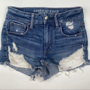 American Eagle Hi Rise Distressed Shorts